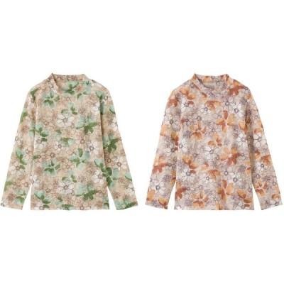 ●毛混花柄ジャカードTシャツ 97830 ケアファッション