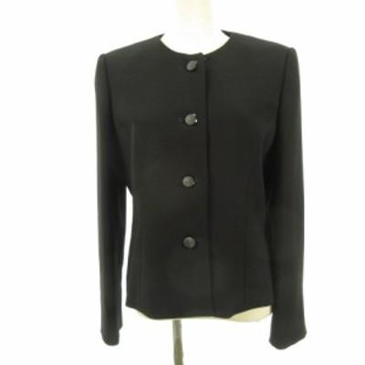 【中古】MENOD ノーカラージャケット 長袖 黒 11 *E489 レディース