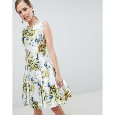 フォーエバーユニーク レディース ワンピース トップス Forever Unique Floral Print High Neck Prom Dress Green floral