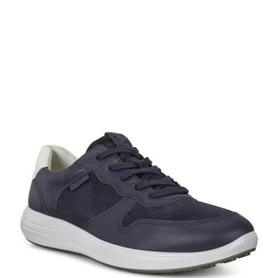 エコー メンズ スニーカー シューズ Men's Soft 7 Runner Suede and Leather Classic Sneakers Night Sky/Navy/Shadow White