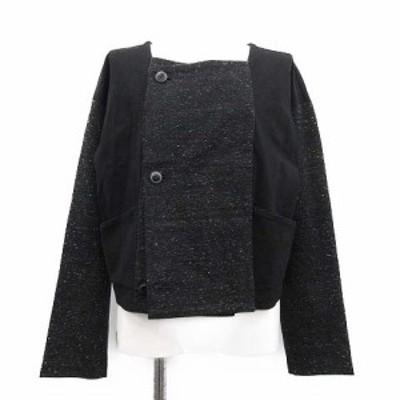 【中古】イッセイミヤケ ISSEY MIYAKE ジャケット ショートコート ダブル 2 黒 ブラック /TK レディース