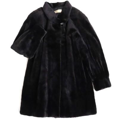 極美品▼SAGA MINK サガ シェアードミンク 本毛皮コート ブラック 毛質柔らか◎