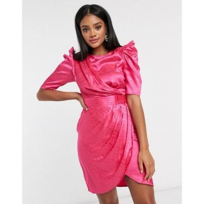 プリティダーリン ミディドレス レディース Pretty Darling drape panel midi dress in fuschia エイソス ASOS