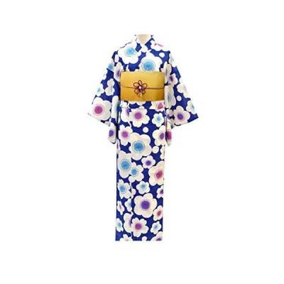 レディース 浴衣 セット(可愛い系 浴衣 半幅帯 2点セット) 06青に梅/からしボカシ帯