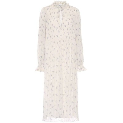 ガニー Ganni レディース ワンピース ミドル丈 ワンピース・ドレス Pleated floral georgette midi dress Egret
