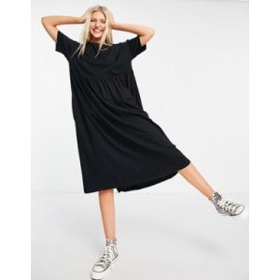 エイソス レディース ワンピース トップス ASOS DESIGN oversized midi smock dress in black Black