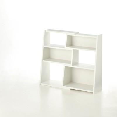 伸縮できる腰高本棚 ホワイト A/60〜100 BML20C