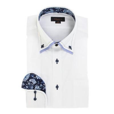 形態安定スリムフィット 2枚衿ドゥエボットーニハンドステッチ長袖ビジネスドレスシャツ