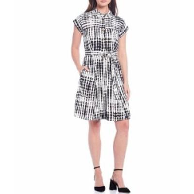 カルバンクライン レディース ワンピース トップス Short Sleeve Tie Dye Print Linen Blend Shirt Dress Black Multi