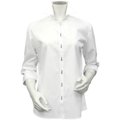 トーキョーシャツ TOKYO SHIRTS 形態安定ノーアイロン スキッパー衿 七分袖ビジネスワイシャツ (ホワイト)