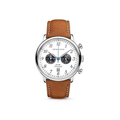 Armogan E.N.B - Moon Whited C90 - Men's Chronograph Watch Light Brown Leath