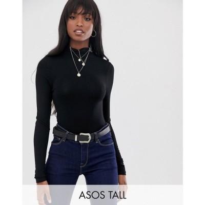 エイソス ASOS Tall レディース トップス タートルネック ASOS DESIGN Tall turtle neck long sleeve top in black ブラック
