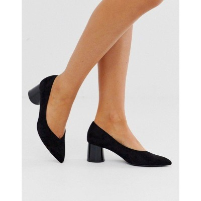 ストラディバリウス レディース オックスフォード シューズ Stradivarius faux suede kitten heel shoes in black Black