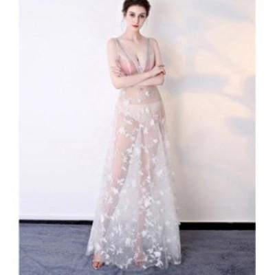 パーティー ウエディングドレス ブライダル お呼ばれ 人気 上質 ワンピース 大きいサイズ キレイめ Vネック ノースリーブ 結婚式 謝恩会
