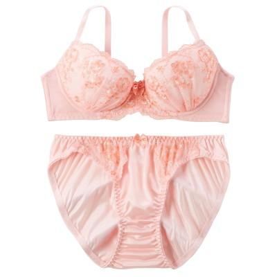 ワントーンカラーブラジャー・ショーツセット(E95/4L) (ブラジャー&ショーツセット)Bras & Panties