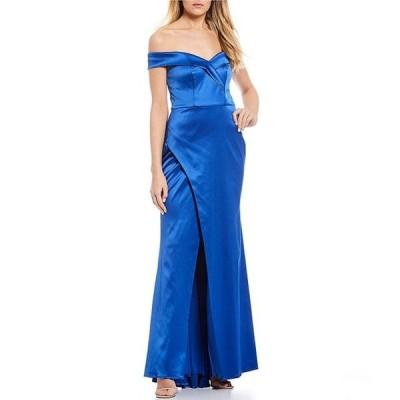 シークインハーツ レディース ワンピース トップス Off-The-Shoulder Satin Wrap Long Dress