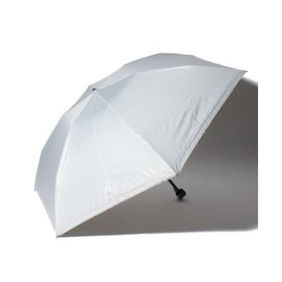 【ムーンバット】 LANVIN en Blue(ランバン オン ブルー)晴雨兼用折りたたみ日傘 シルバーラメ刺繍 ユニセックス グレー メーカー指定サイズ MOONBAT