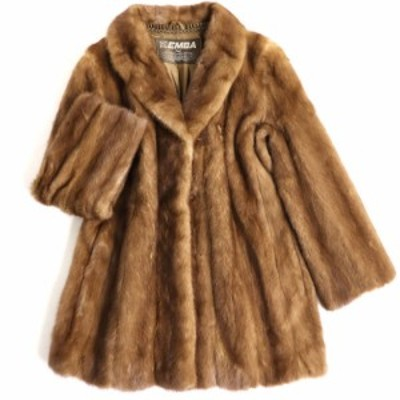 毛並み極美品▼EMBA MINK エンバ ミンク 裏地花柄刺繍入り 本毛皮コート ブラウン 毛質艶やか・柔らか◎