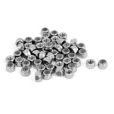 uxcell ナイロンロックナット M5 x 0.8mm 304ステンレス鋼 自動ロック式 50個 ネジのボルト用