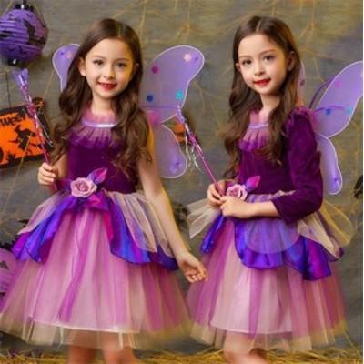 二枚送料無料/子供ハロウィンコスプレ 女の子コスプレ 衣装 魔女 子供 仮装 キッズ ワンピース コスチューム 魔法使い キッズ 子供 ワン