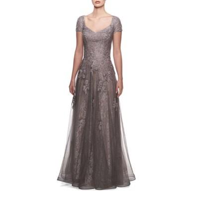 ラフェム レディース ワンピース トップス V-Neck Cap-Sleeve Tulle & Lace A-Line Gown