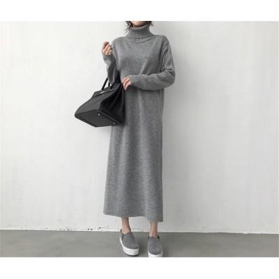 Fashions、2018新品  タートルネック   韓国ファッション  防寒  暖かい   長袖 ニットソー   セーター   ワンビース
