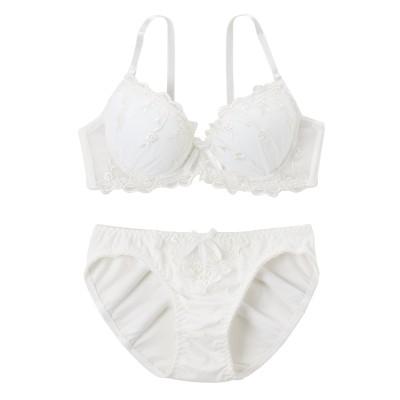 綿混 ドリーミーリボン ブラジャーショーツセット(B70/M) (ブラジャー&ショーツセット)Bras & Panties