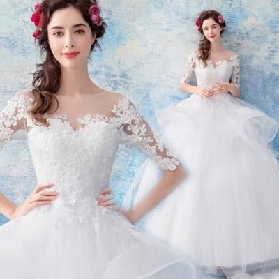 【ANGEL】肌透けチュールレースフリル五分袖付き背中編上げプリンセスAラインロングドレス【送料無料】高品質 ホワイト 白 ウエディングドレス