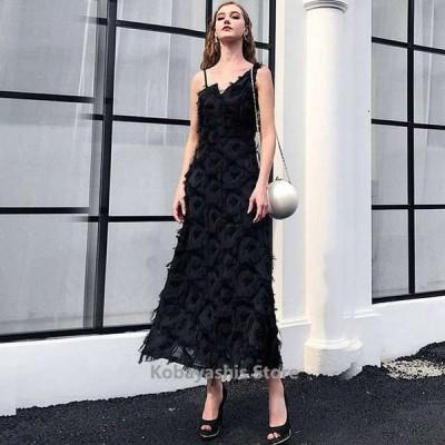 ブラック黒ノースリーブロングパーティードレスキレイめ上品発表会誕生日演奏会ドレス30代40代お呼ばれ成人式イブニングドレス