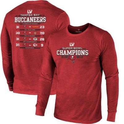 NFL Tシャツ バッカニアーズ 第55回スーパーボウル優勝 Running Back Schedule レッド メンズ 長袖 tシャツ ロンT ロンt SB55