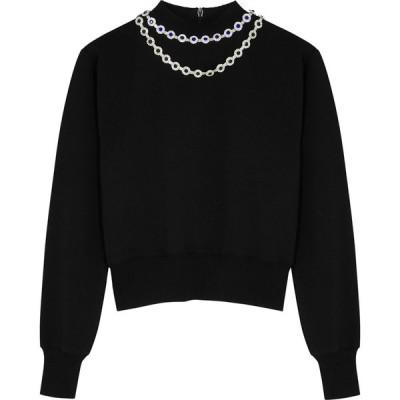 クリストファー ケイン Christopher Kane レディース スウェット・トレーナー トップス Black Crystal-Embellished Cotton Sweatshirt Black