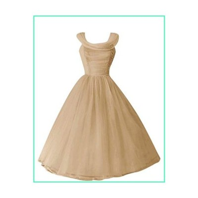 Andybridal Real Photos Ball Gown Pleat Tea Length Bridesmaid Dress Wedding Guest Dress Champagne 12並行輸入品