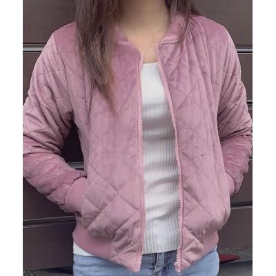 (shoppinggo/ショッピングゴー)ブルゾン レディース 秋冬 ジャケット ショート丈 アウターノーカラー ショートコート 中綿 キルティング ジップアップ きれいめ シンプル 裏地付き/レディース ピンク