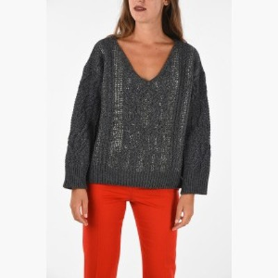 ERMANNO SCERVINO/エルマンノ シェルヴィーノ Gray レディース cable knit v-neck sweater with jewel details dk