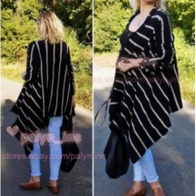 ファッション 衣類 NWT ZARA LINEN FRINGED STRIPED SHAWL CAPE KNIT PONCHO COAT JACKET 6771/002_S M