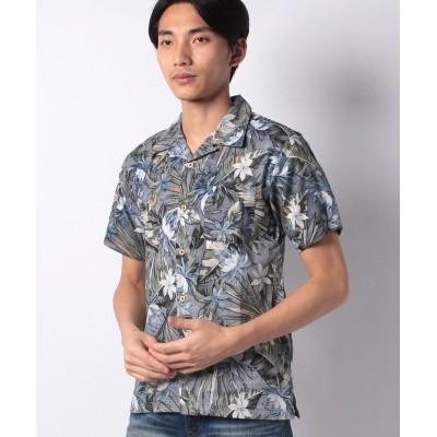 【スタイルブロック】 総柄開襟アロハシャツ メンズ ネイビーA M STYLEBLOCK