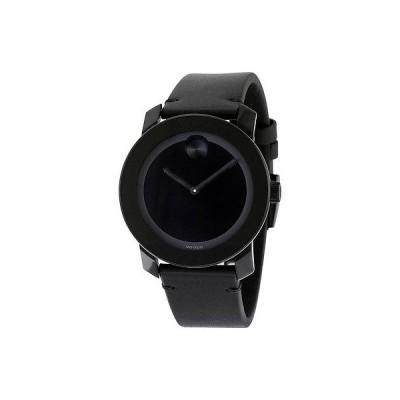 モバード 腕時計 Movado Bold ブラック Museum ダイヤル ブラック レザー ユニセックス 腕時計 3600306