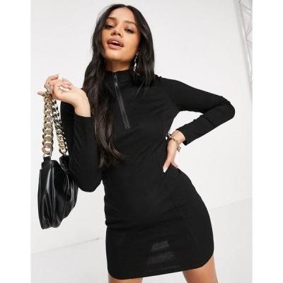 ナーナー レディース ワンピース トップス NaaNaa ribbed zip front sporty body-conscious dress in black Black