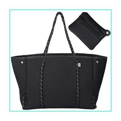 【新品】OCSTRADE Neoprene Multipurpose Beach Tote Bag Large Shoulder Bag with Inner Zipper Pocket and Movable Board Black(並行輸入品)