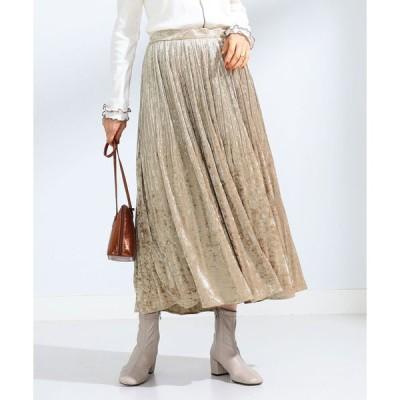 スカート Ray BEAMS / クラッシュ ベロア プリーツスカート