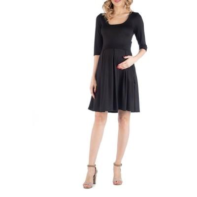 24セブンコンフォート ワンピース トップス レディース Fit and Flare Scoop Neck Maternity Dress Black