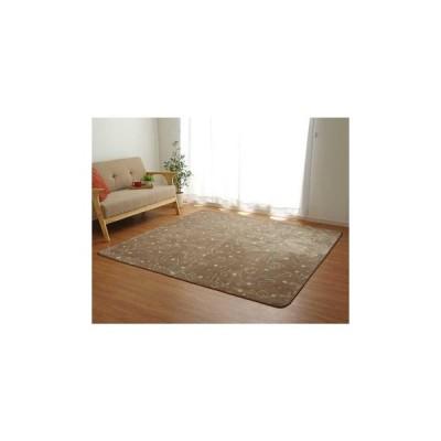 ホットカーペット対応 フランネルラグ ネコ柄 2畳 約185×185cm ブラウン 9845017
