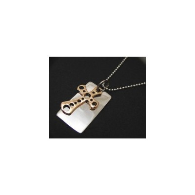 シルバー925 プレート&真鍮穴あきクロスネックレス ペンダント ネックレス チャーム