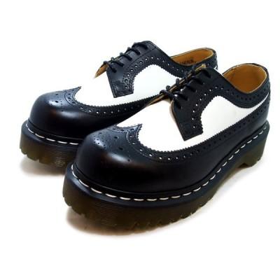 ユニセックス ドクターマーチン/Dr.Martens 5アイレット ブローグ シューズ/5EYE BROGUE SHOE 3989 BROGUE BEX SOLE BLACK WHITE/ブラック ホワイト 10458001