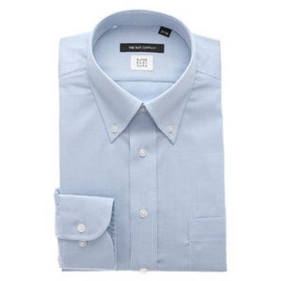 【SUPER EASY CARE・再生繊維】ボタンダウンカラードレスシャツ 織柄〔EC・BASIC〕