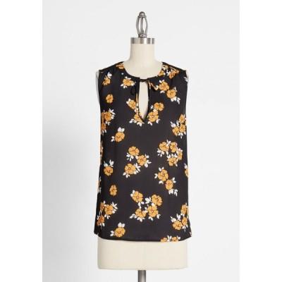 モドクロス ModCloth レディース タンクトップ トップス stylish influence tie-neck blouse black floral