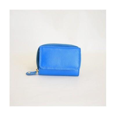 【アールエムストア】 オールレザー ミニ財布 三つ折りコンパクト 牛革メンズ レディース ブルー ユニセックス ブルー フリー RM STORE