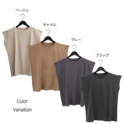 天竺ピグメント加工ノースリーブTシャツ(グレー×M)