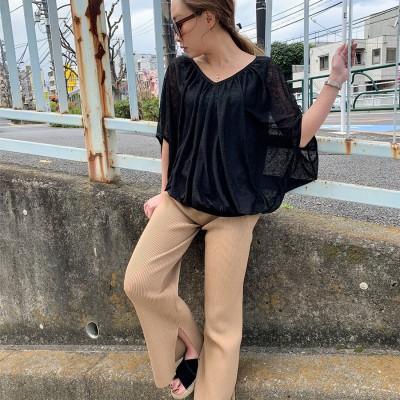 アムールボックス AMOUR BOX Tシャツ カットソー 新作 2019 SS 春夏 令和 元年新作 レイヤード風ふんわりカットソー (ブラック)