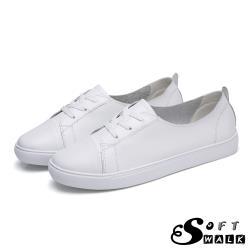 【SOFT WALK 舒步】真皮韓版舒適綁帶休閒小白鞋 平底鞋 白